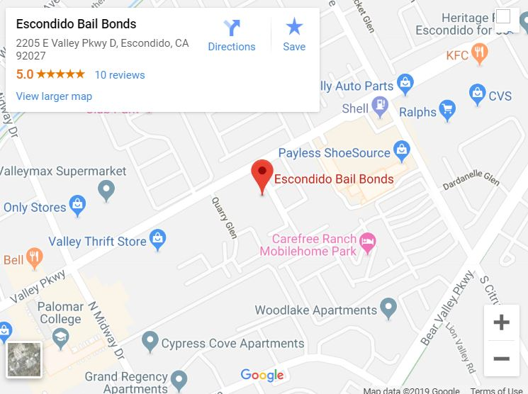 Escondido Bail Bonds Map